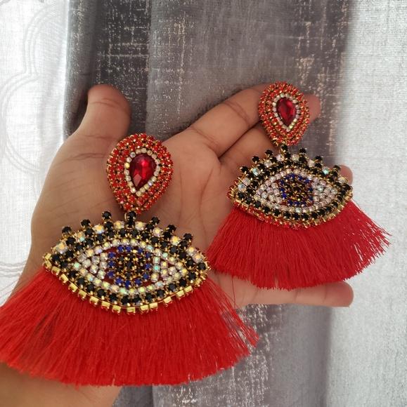 Jewelry - Eye drop tassel drop earrings women , new jewelry